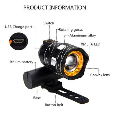 USB Rechargeable Bike LED Light