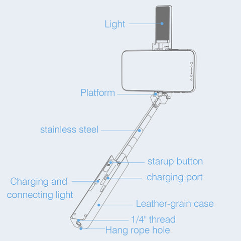 Image of Selfie Stick with LED Light