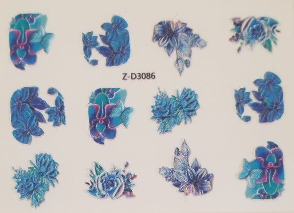3D Nail Art Decal, Blue Turquoise Violet Flowers Nail Art Design, Blue Turquoise Violet Flowers Nail Sticker _ZD3086
