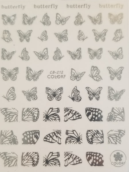 3D Nail Art Decal, Shiny Silver Butterflies and Butterfly Wings Nail Art Design, Shiny Silver Butterflies and Butterfly Wings Nail Sticker _CBS212