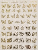 3D Nail Art Decal, Shiny Gold Butterflies and Butterfly Wings Nail Art Design, Shiny Gold Butterflies and Butterfly Wings Nail Sticker _CBG212