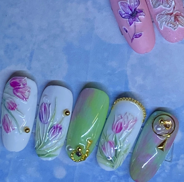 Nail art, Nail design, colorful, flower, skulls, lines, borders, stick on, easy on, lasts for weeks.