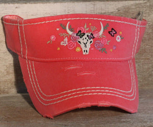 Ball Caps Longhorn Distressed Visor - Pink