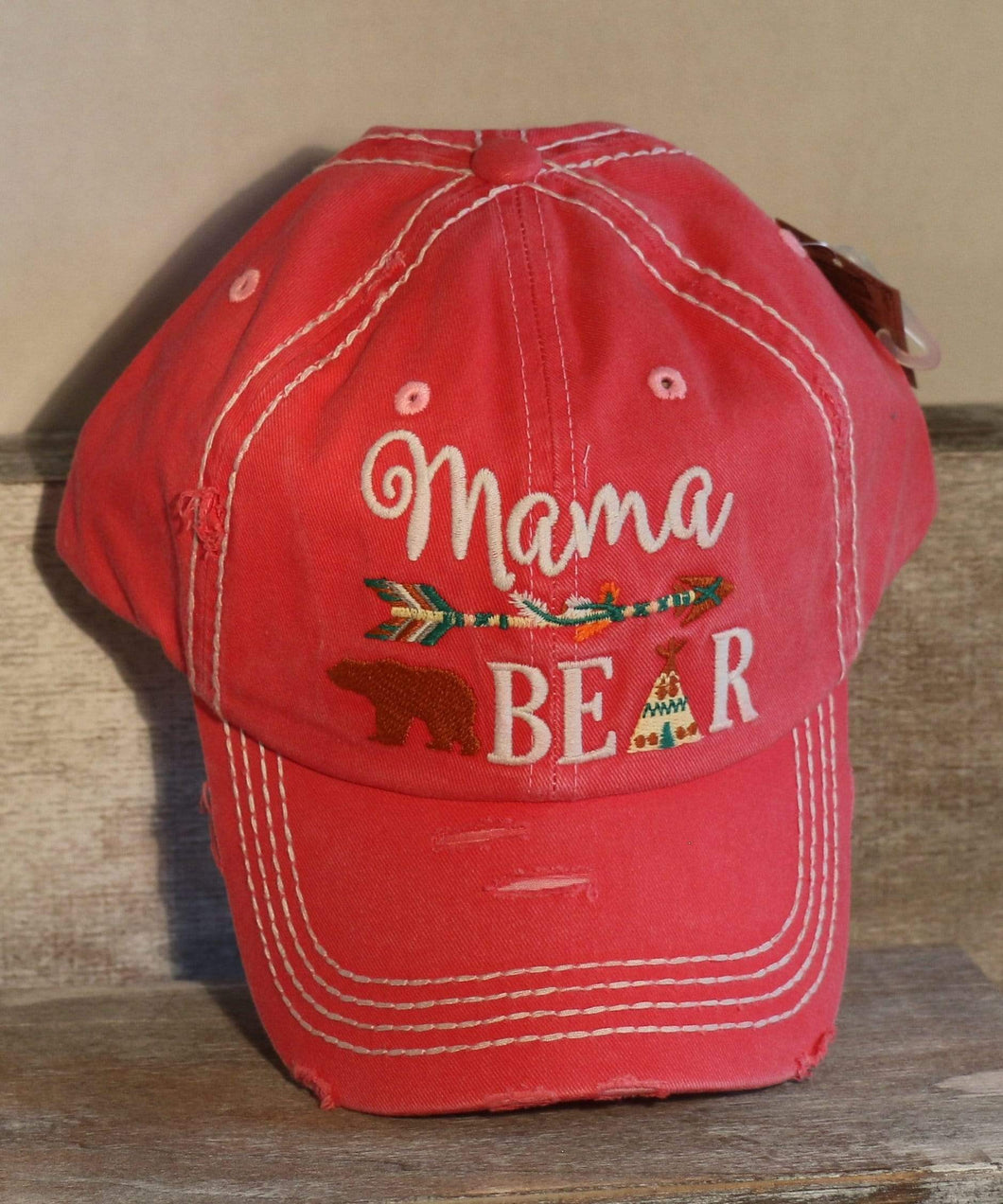 Ball Caps Mama Bear Distressed Ball Cap - Pink