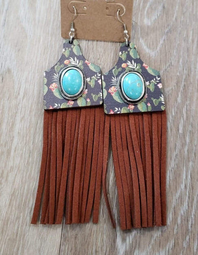earrings Black Cactus Cattle-Tag Wooden Tassel Earring