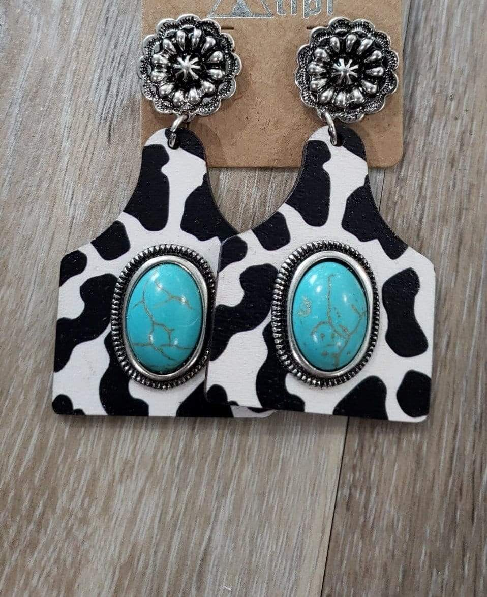 earrings Black/White Wooden Cattle-Tag with Turquoise Stone Earring