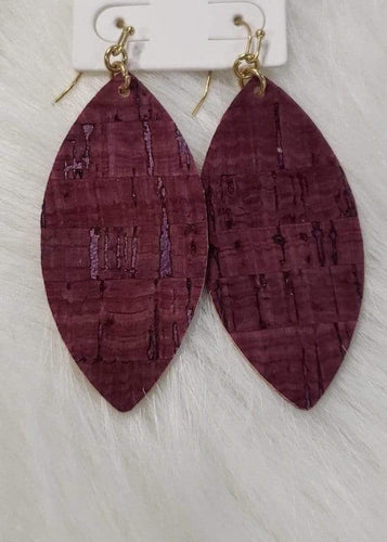 earrings Burgundy Cork Earrings