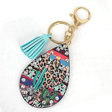 earrings Cactus/Leopard Teardrop Multi Color Rhinestone Stud Keychain