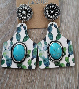earrings Cactus Wooden Cattle-Tag with Turquoise Stone Earring