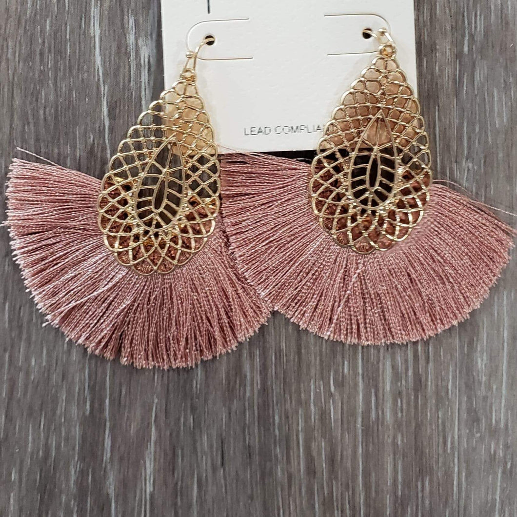 earrings Mauve Tassel Earrings