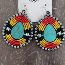 earrings Red/Black Beaded Turquoise Earrings