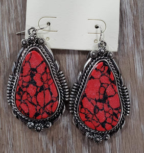 earrings Red Turquoise Earrings