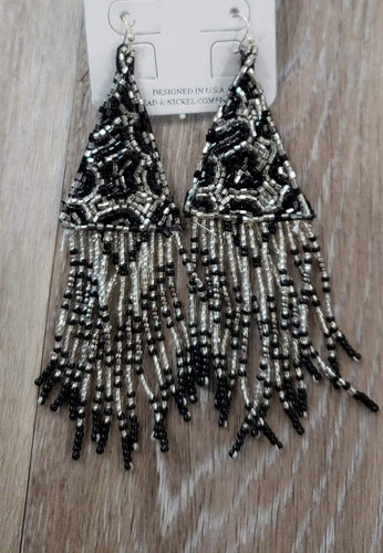 earrings Silver/Black Beaded Fringe Animal Print Earrings