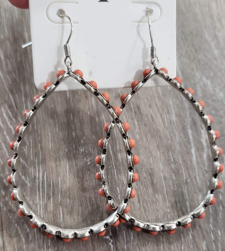 earrings Silver/Coral Teardrop Earring