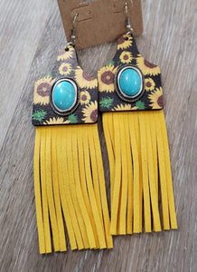 earrings Sunflower Cattle-Tag Wooden Tassel Earring