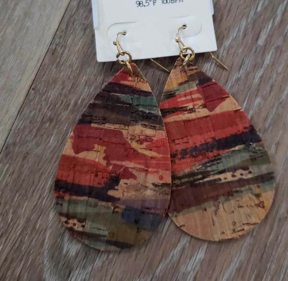 earrings Teardrop Cork Multi Color Earrings