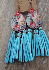 earrings Turquoise Teardrop Wood Flower with Tassel Earrings