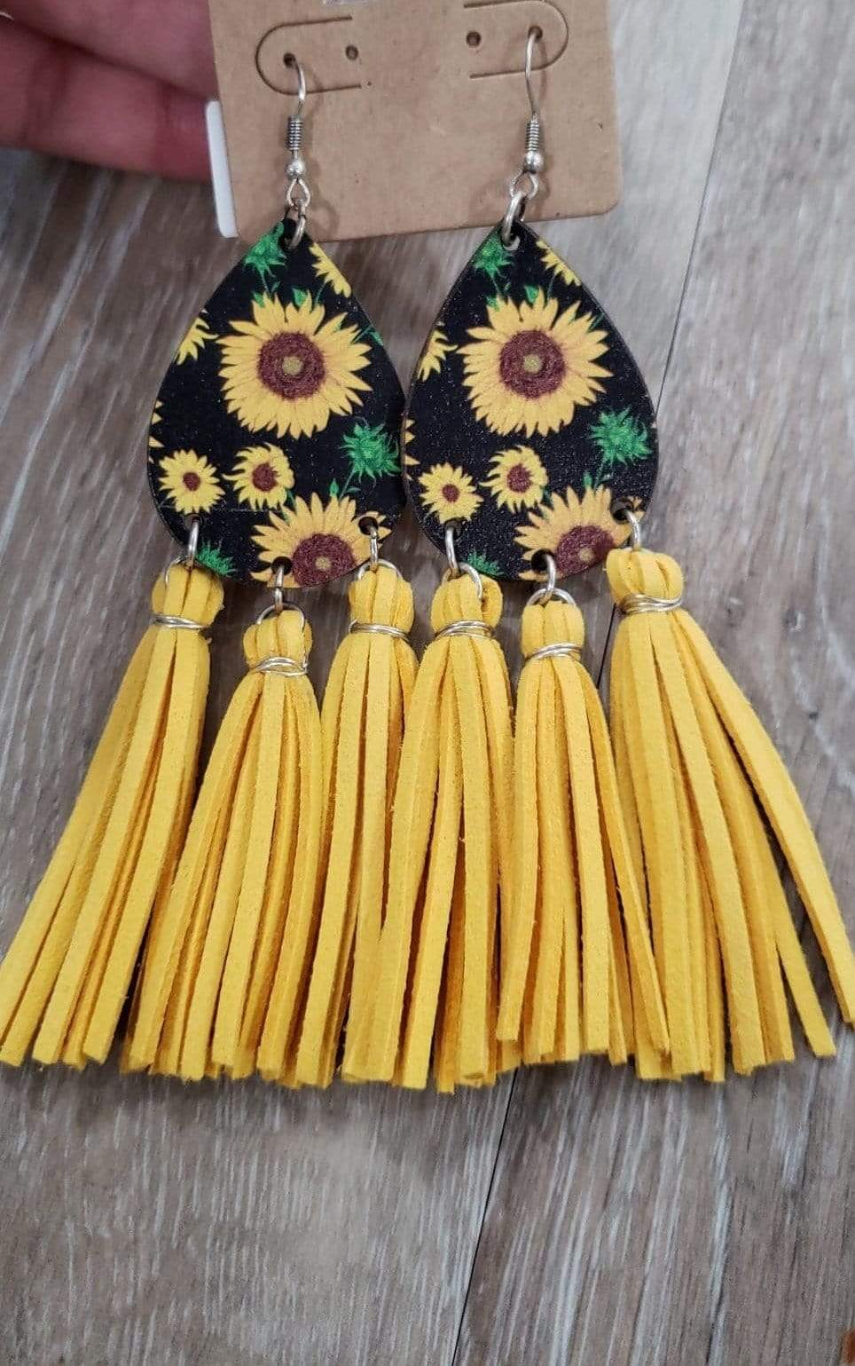 earrings Yellow Teardrop Wood Flower with Tassel Earrings