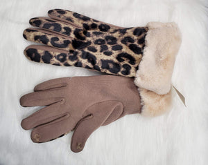 Gloves Taupe Taupe and Cheetah Gloves