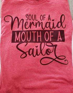 Graphic T-Shirt Short Sleeve Red Graphic T-Shirt Mermaid Soul