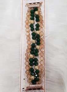 Green and Gold Beaded Apple Watch Band 38mm to 42mm