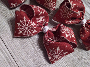 Hair Accessories Burgundy burlap ribbon bow