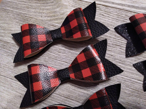 Hair Accessories Large buffalo plaid / blk faux leather bow