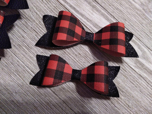Hair Accessories Small buffalo plaid / blk glitter bow