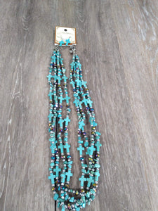 Jewelry 4 strand turquoise cross