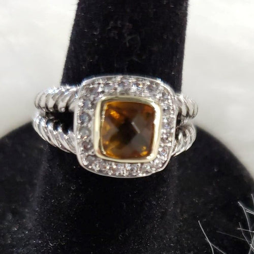 Jewelry 7 Square CZ Ring with Citrine Colored Stoned