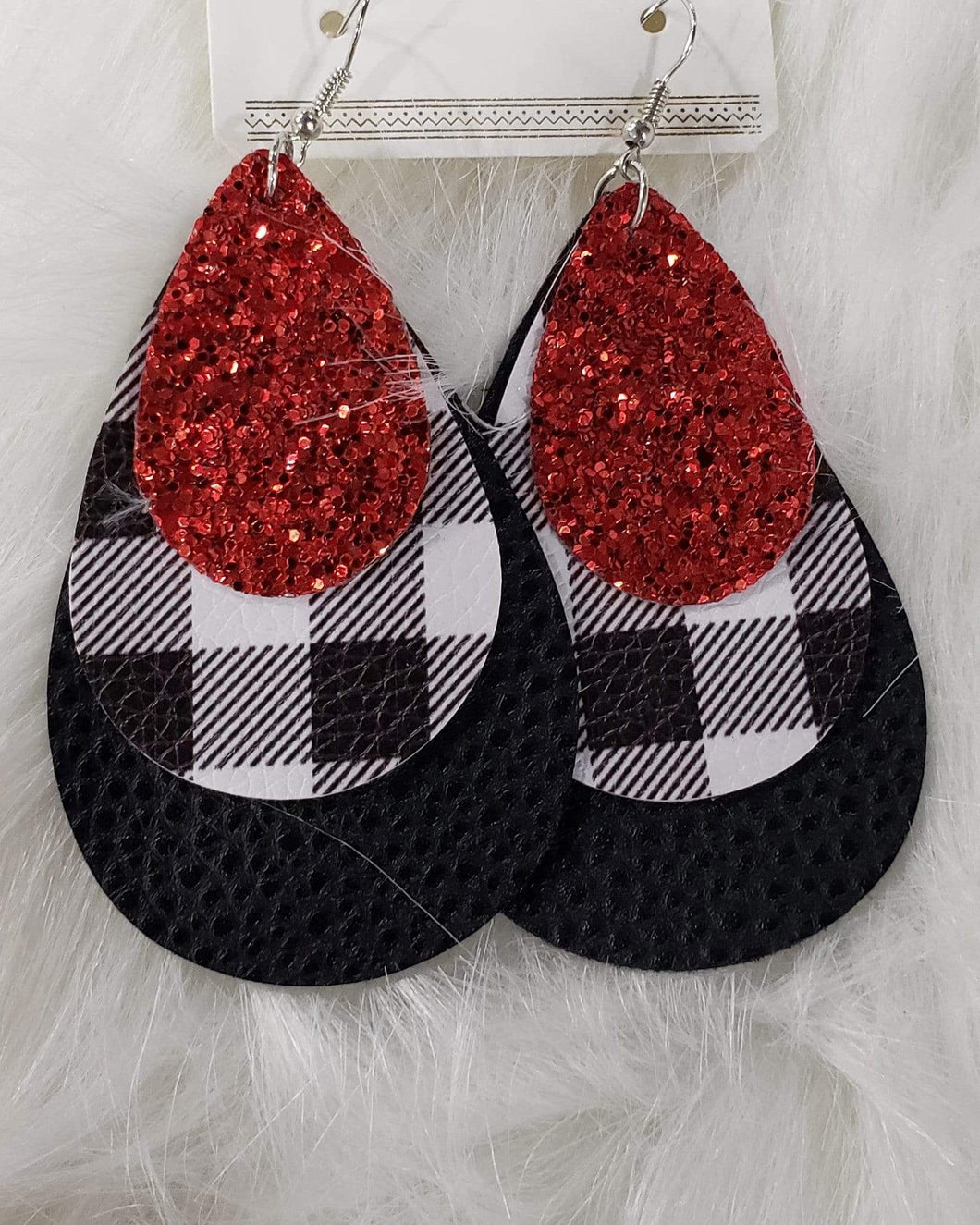 Jewelry Black, plaid, and red glitter earrings