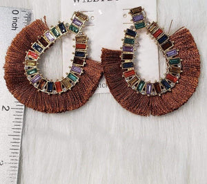 Jewelry Brown Fringe Earrings with Rhinestones