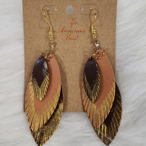 Jewelry Brown Leather Feather Earrings