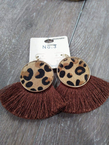 Jewelry Brown leop tassel earrings