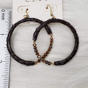 Jewelry Genuine Leather and Beaded Hoop Earring
