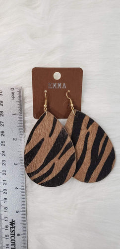 Jewelry Gold/Black Zebra Print Earring