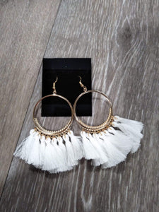 Jewelry Gold hoops w/ white tassels