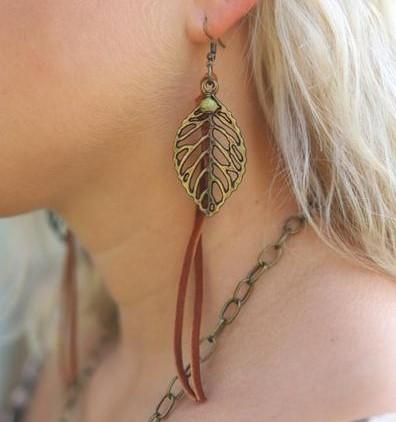 Jewelry Leaf Earring with Green Dangle and Leather