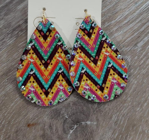 Jewelry Leather Aztec with Rhinestones Earrings