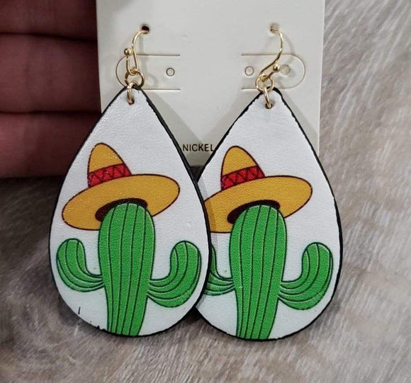 Jewelry Leather Cactus Hat Earring