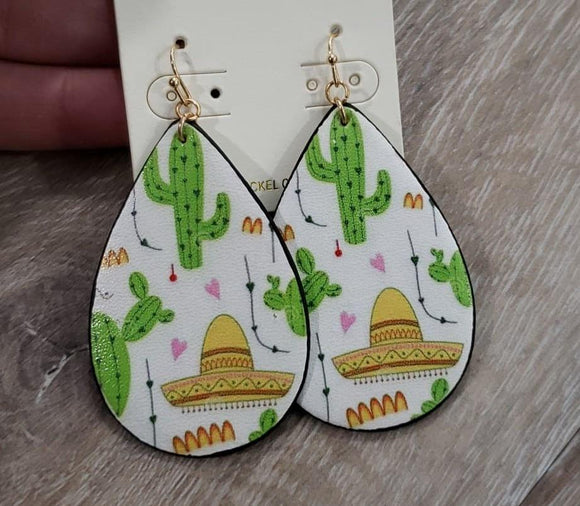 Jewelry Leather Cactus White Hat Earring
