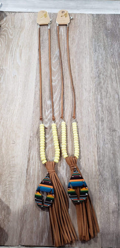 Jewelry Leather serape longhorn tassel necklace yellow