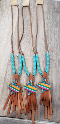 Jewelry Leather serape texas tassel necklace blue
