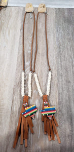 Jewelry Leather serape texas tassel necklace cream