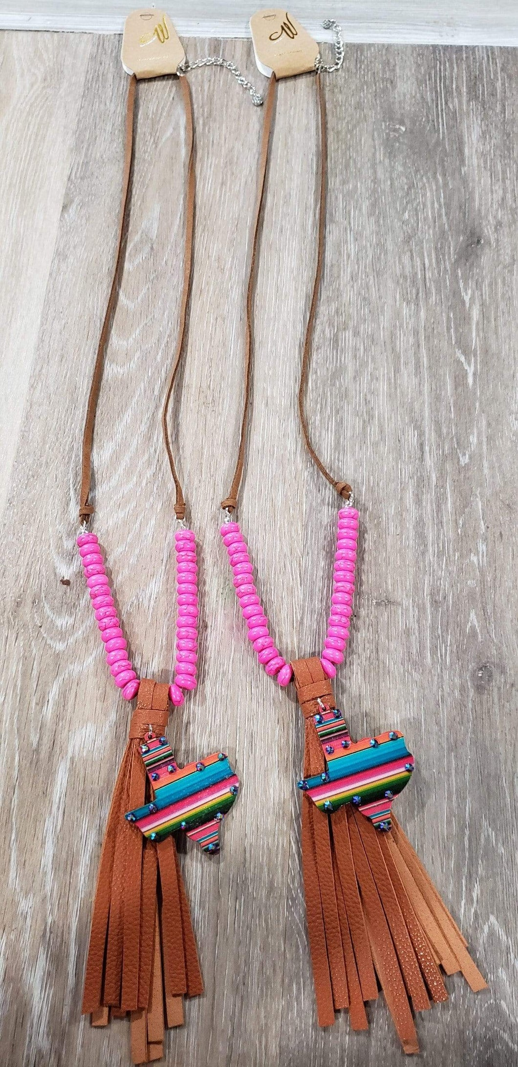 Jewelry Leather serape texas tassel necklace pink
