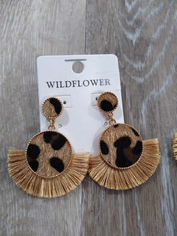 Jewelry Leopard tassel gold earrings