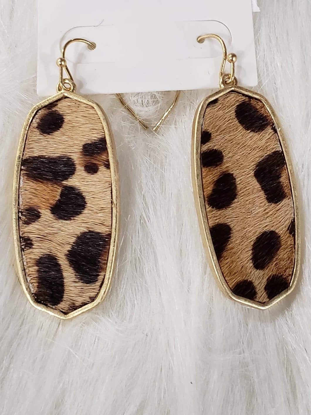 Jewelry Metal Oblong Leopard Fur Earrings