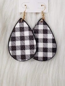 Jewelry Plaid Leather Earrings