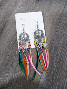 Jewelry Rainbow feather earrings