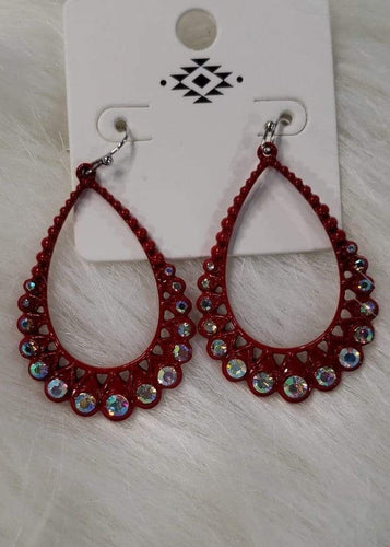 Jewelry Red Teardrop Rhinestone Earrings ( Metal)